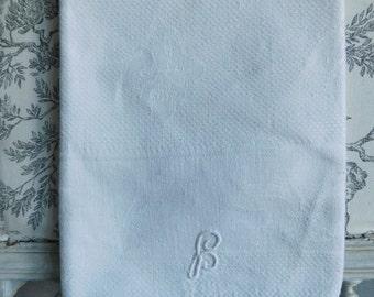 Monogrammed towel  French antique towel  Fleur de lis pattern  White vintage towel