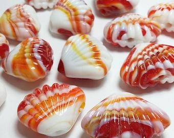 8pcs Red Seashell Beads - Lampwork Beads - Beach Beads - Shell Beads - Boho Beads - Red White Beads - Handmade Beads - DT307J-1