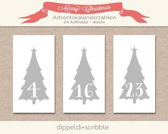 Advent calendar numbers sticker tree grey