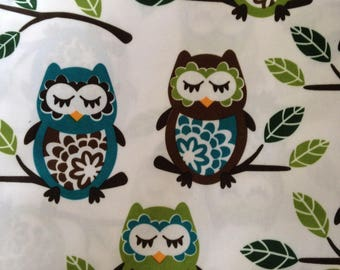 Owls on white PUL fabric
