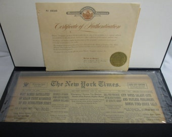New York Times Original Newspaper April 11, 1934 COA sealed and in leatherette Sheath