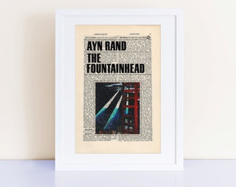 The Fountainhead by Ayn Rand Print on an antique page, book cover art