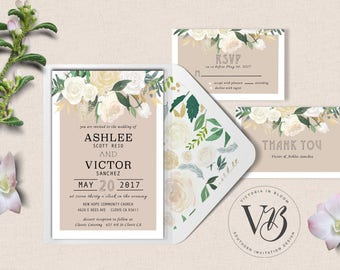 White Tan Floral Wedding Invitation Suite Set Thank You RSVP Simple Digital Download Professional Print Country Southern Botanical Garden