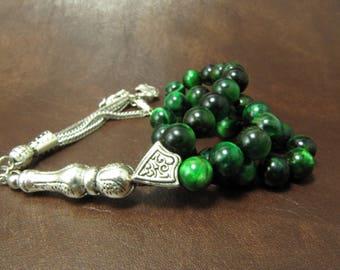 EXPRESS SHIPPING - Turkish Islamic 33 Prayer Beads, Tesbih, Green Tiger Eye Beads, Tigereye Tasbih, Misbaha, Sufi, Worry Beads, Pocket Beads
