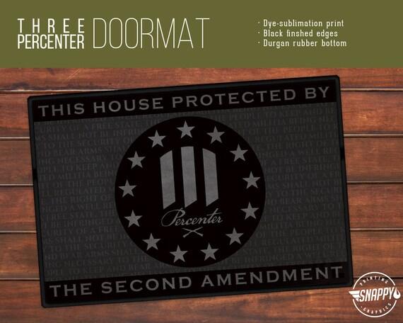 Three Percenter 2nd Amendment Welcome Mat Doormat Rug