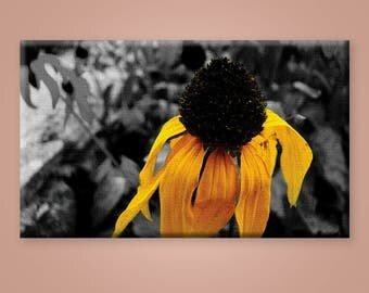 Unique Canvas Print, Yellow Flower, Selective color, Photography, Home decor, Interior, Wall Decor, Canvas