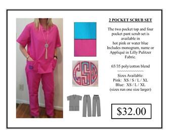 Personalized Two Pocket Scrub Set   SALE!!!!!!!!!