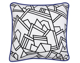 Black and white cushion cover  - 40 x 40 cm - graphic -  Canopée