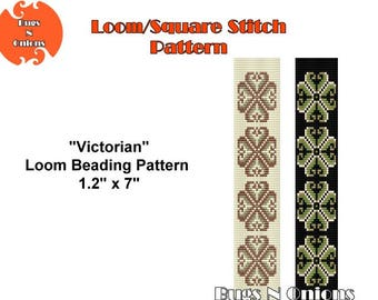 Victorian, Loom or Square Stitch Bracelet Pattern, Cuff Pattern, Instant Download