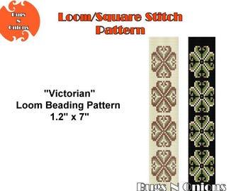 Victorian, Loom or Square Stitch Bracelet Pattern, Cuff Pattern, Instant Download