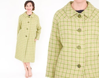 60s Yellow Green Plaid Coat Long Winter Coat, Medium