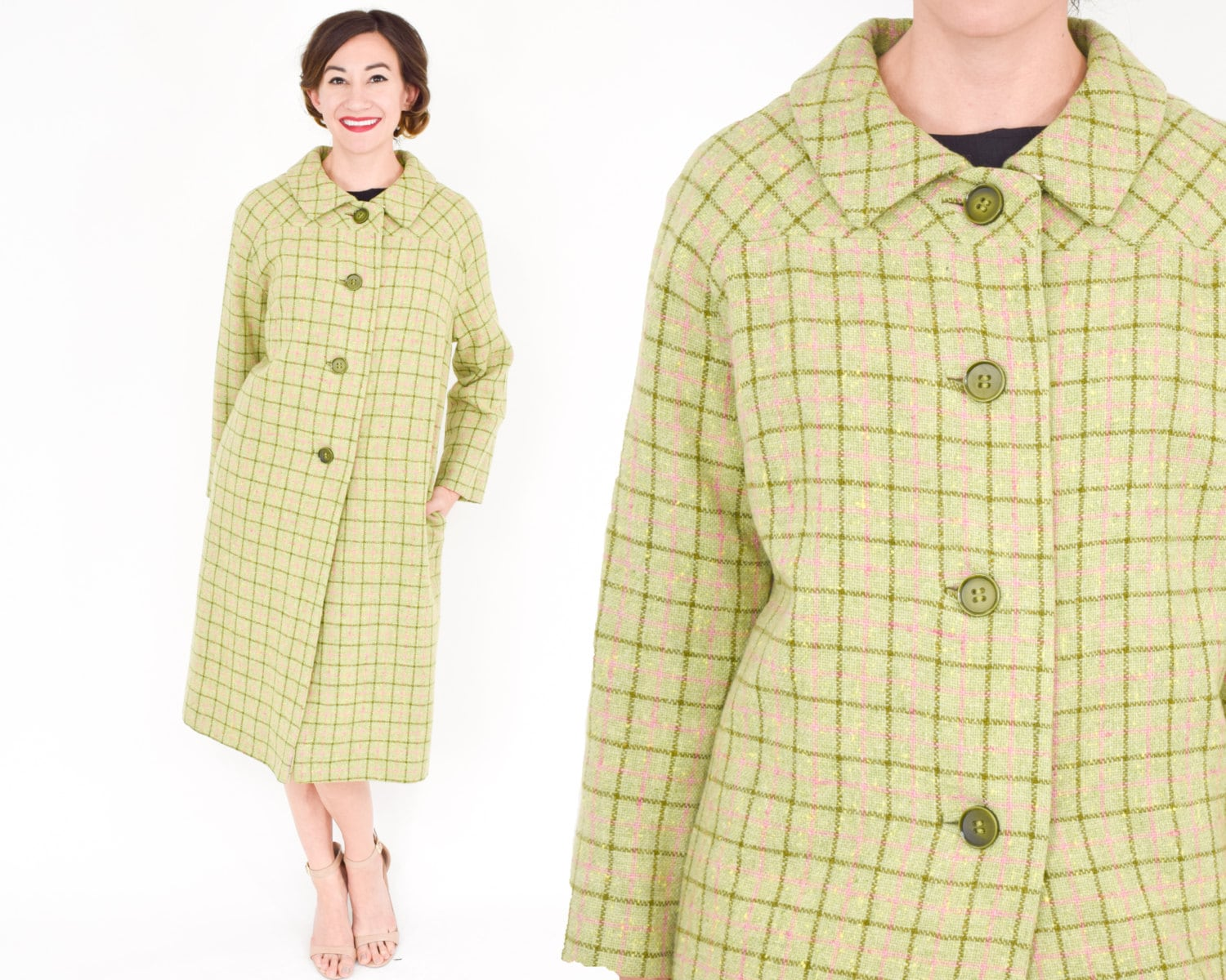 60s Yellow Green Plaid Coat