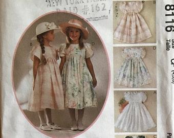McCalls 8113 - Girl's Kitty Benton Raised Waist Sunday Best Dress - Size 4 5 6