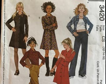 McCalls 3420 - Girls Shirtdress, Shirt, and Low Rise Pants - Size 12 14 16