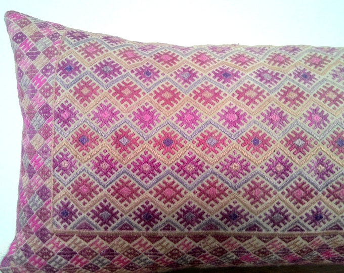 "11"" x 24"" Vintage Chinese Wedding Blanket Long Lumbar Pillow Cover / Boho Pink Tan and Indigo Ethnic Dowry Textile / Handwoven Silk Cushion"