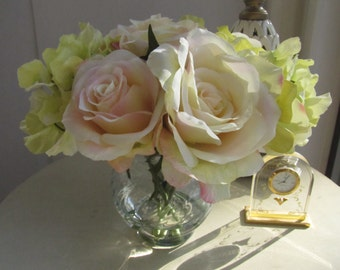 Finest Elegant Beautiful  Silk Flower Arrangement -light pink roses and Green hydrangea in glass vase with Faux Water