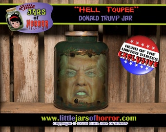 Donald Trump Head in a Jar Horror Prop/Prank/Gift/Halloween Decor- Zombie, Monster, Walking Dead, Political fans, Funny, POTUS,