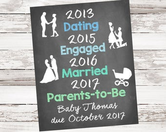 Milestone, Dating, Engaged, Married, Parents-To-Be, Pregnancy Announcement, Expecting Baby, Printable, Download
