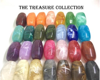 32mm Log Gemstone Beads, acrylic chunky craft supplies for wire bangle or jewelry making, statement necklace, round colorful beads, beads
