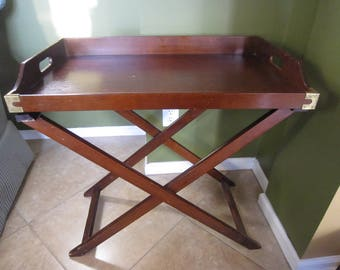 Antique Butlers Tray, English Butler Tray, Drink Table, Bottle Stand,  Folding Table