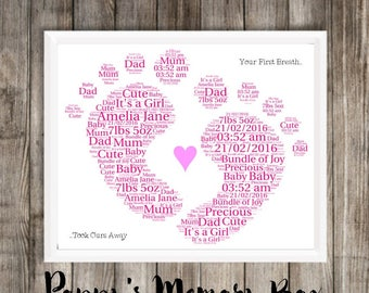 Personalised Luxury Word Art New Baby Nursery Bespoke Boy Girl Print Poster Gift 21x30cm A4 Any Colour