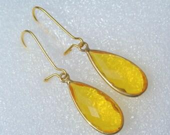 Gold Plated Bezel Set Yellow Quartz Drop Earrings, Bezel Set Gemstone Earrings Handmade Earrings Best Seller Handmade Jewelry