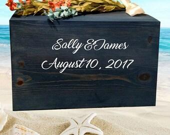 Unique Wedding Card Box, Rustic Beach Card Box, Wood Card Box, Money Box, Can Be Personalized