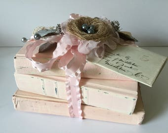 Handmade Tattered Aged Book Stack...OOAK Painted Book Bundle...Book Shelf Decor...Wedding Photo Prop..Book Lover's Gift Idea..