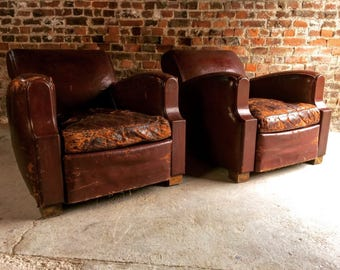 Gorgeous Pair French Club Chairs Armchairs Art Deco Style Red Leather 1930's