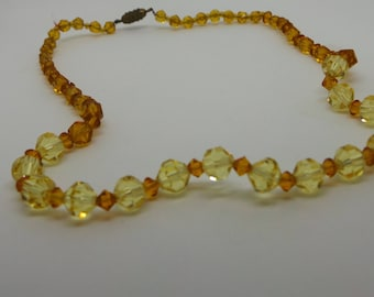 Vintage necklace - Amber and Lemon faceted beaded necklace