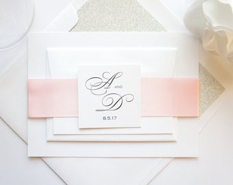 Pink and Gray Wedding Invitation, Simple Wedding Invitations, Wedding Invites, Elegant Invitations, Glitter, Simple - Deposit