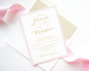 Blush and Gold Wedding Invitations, Pink Wedding Invitations, Wedding Invites, Printed Wedding Invitations - Deposit