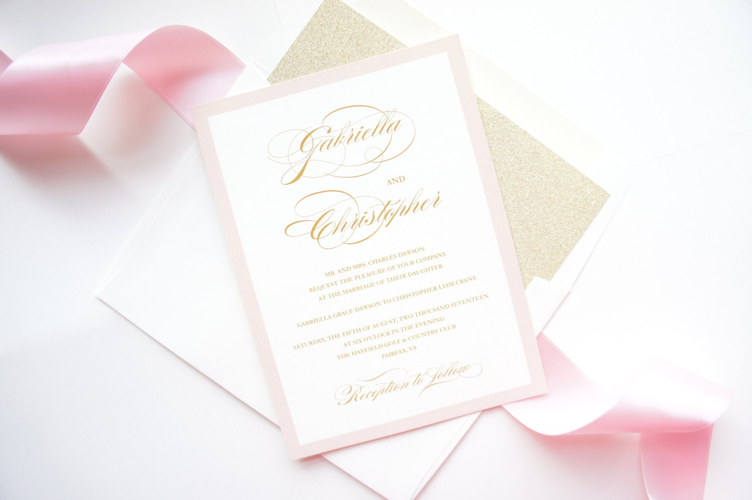 Blush And Ivory Wedding Invitations: Pink And Gold Wedding Invitations Ivory Cream Blush Gold