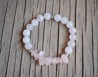 Rose Quartz Round and Chip Bead with Silver Accents Stretch Bracelet (Natural Jewelry, Bohemian Jewelry, Rustic Jewelry)