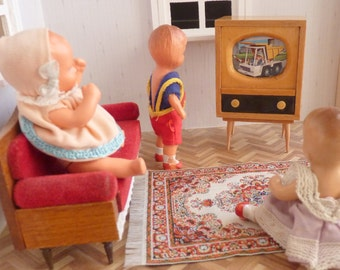 Vintage / / TV / / TV / / wood / / Dollhouse / / about 1950