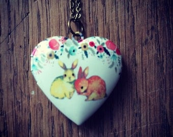 Bunny rabbit heart locket necklace