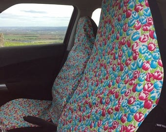 Me-Mo Pair of Front Car Seat Covers: Spring Tulips