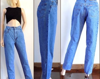 Womens vintage mom jeans high waist tapered leg French jeans size 27 inch waist