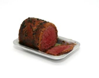 OOAK Roast Beef ~ Miniature Food ~ Dolls House Miniatures