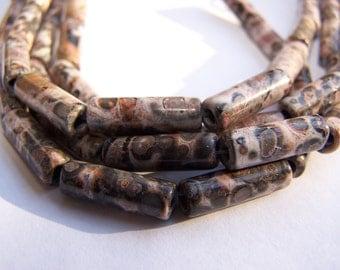 Leopard Skin Tube beads 17x6mm 8 inch strand