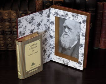 Origin of Species by Charles Darwin hidden inside a Holy Bible Hollow Book Safe, Library Decor, Science, Evolution, Handmade, Upcycled