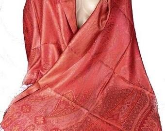PASHMINA SILK RED, silk scarf shawl stole scarf silk aps37