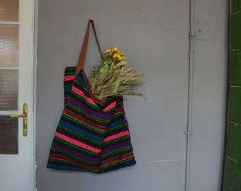 Handwoven wool shoulder bag - Vintage handwoven wool  bag -  Bessarabian moldovan romania - Rustic decor