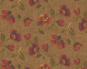 Ginger Rose Fabric - Tossed Roses Fabric