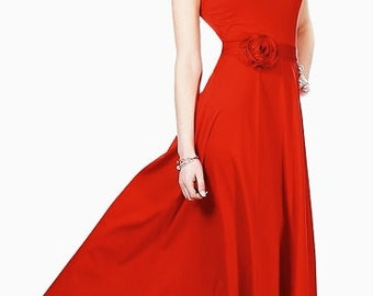 Red maxi dress Dress with  bow Autumn dress Wedding dress Occasion  dress Prom red dress Bridesmaids red dresses