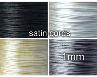 1mm Nylon thread, 10 meters, Satin cord, diameter 1mm, BLACK, WHITE, cream, gray