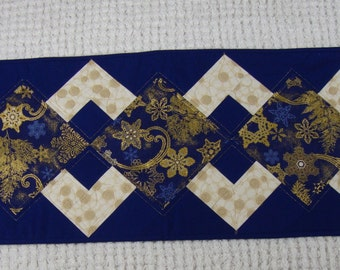 Blue and gold quilted table runner 13 by 41 table runner Reversible table runner
