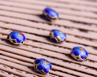 DIY Handmade Nepal Cloisonne with  Blue Floral Beads for Bracelet/Necklace (Bead Size: 14x5mm)-WEN520594609928-GVN