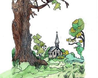 Original Pen and Ink Drawing with Watercolor Wash / Little Brown Church in the Vale Valley / Tall Oak Trees