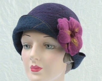Reversible Cloche Hat in Navy and Eggplant Wool Felt w/Removable Flower Pin - Flower Cloche - Wool Felt Hat - Wool Cloche